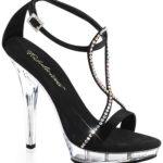 Pleaser Black Satin Sandals with Rhinestones