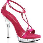 Pleaser Fuchsia Satin Sandals with Rhinestones