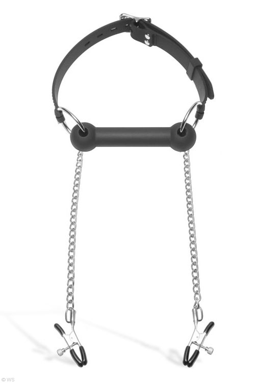 Master Series Bit Gag with Nipple Clamps