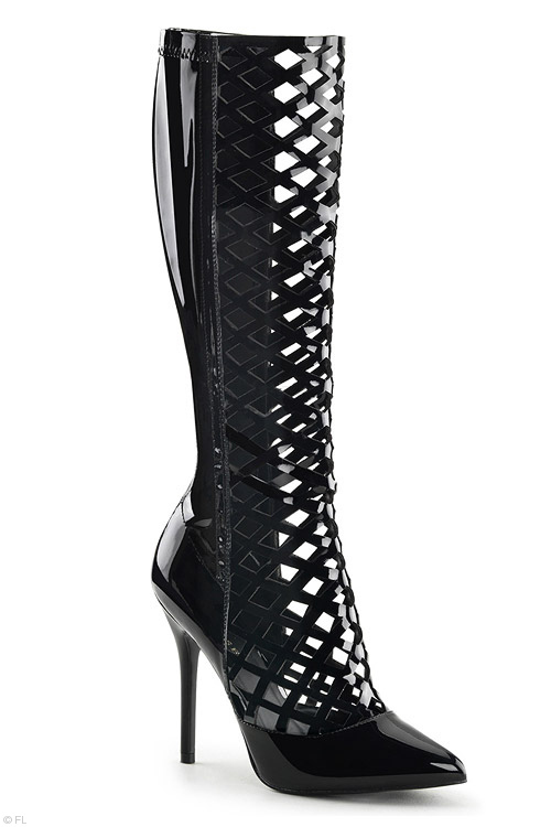 Pleaser 5″ Heel Lattice Cut-Out Boots with Hidden Platform