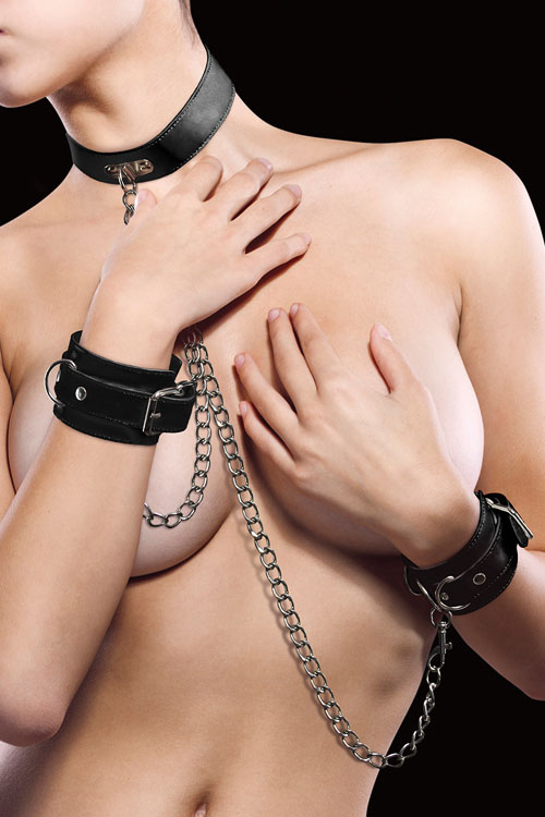 Shots Toys Premium Leather Collar & Cuff Set